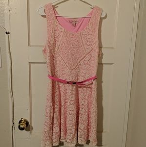 Candie's Size XL Pink and Off White Lace Dress